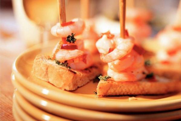 pricker of shrimp with garlic