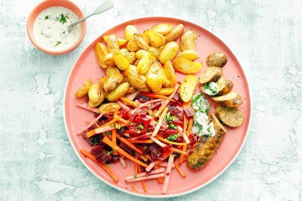 grilled bratwurst with beet-kohlrabi salad