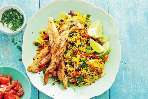 Mexican rice dish with fish