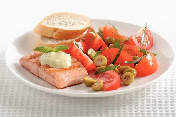 grilled salmon with tomato-olive salad