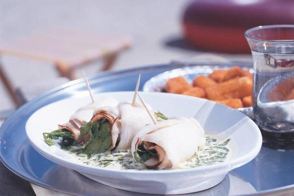 poached plaice rolls with casselerrib and watercress sauce