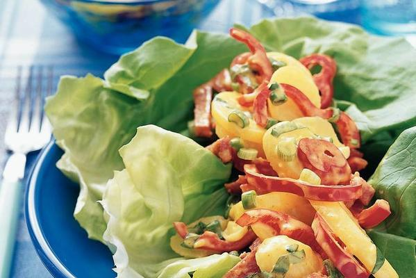 butter lettuce with potato-curry salad