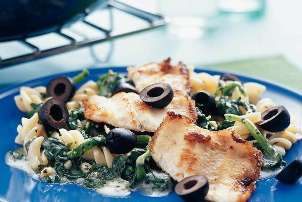 trout fillet with pasta and spinach pesto