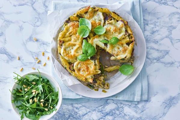 pesto parsley pie with arugula