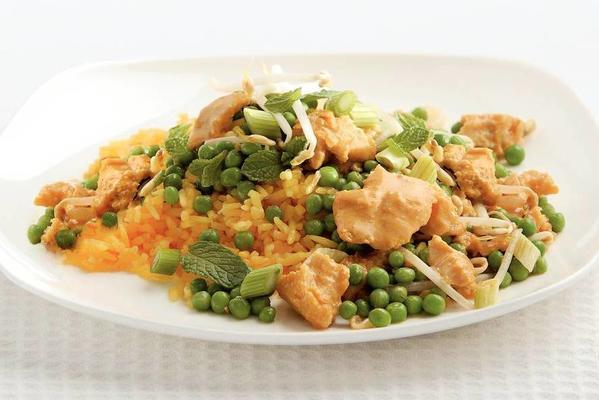 tilapia with peas and rice
