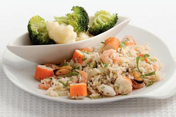 rice dish with seafood