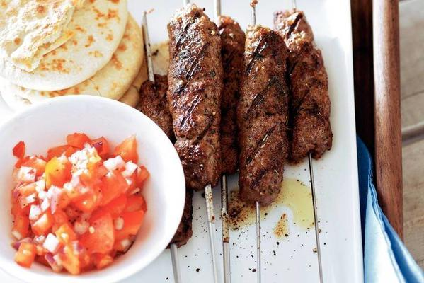 grilled sausages with spicy tomato salsa