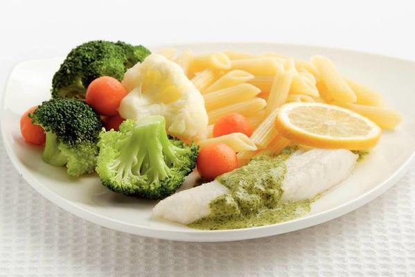 poached cod with herb oil