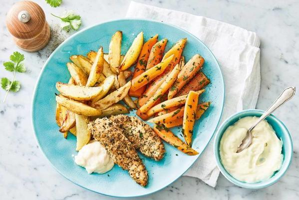 crispy chicken with roasted potatoes