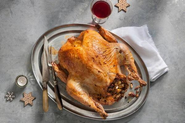 roasted turkey with apple-sage-pecan filling