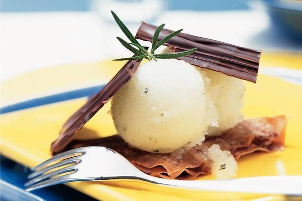 tompouce napoleon of milk chocolate and apple rosemary ice