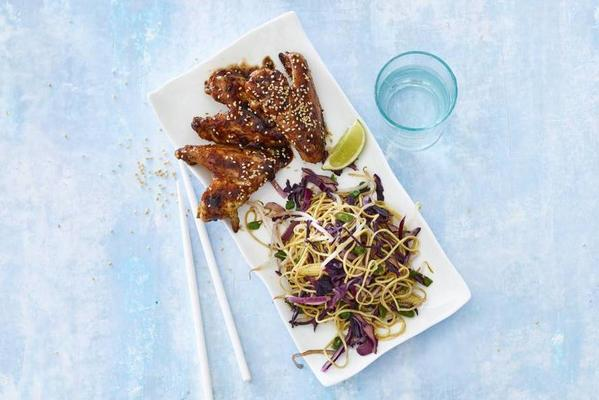 hoisin chicken wings with noodles