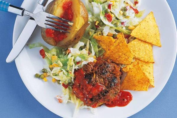 mexican meatballs with lettuce and stuffed potatoes