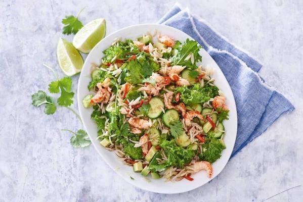 asian salad with crayfish
