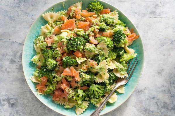 creamy pasta with smoked salmon and broccoli