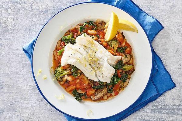 Mediterranean bean stew with cavolo nero and cod