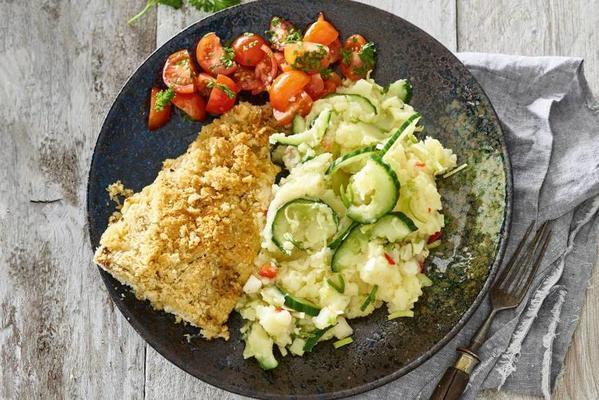 white fish with nut topping, cauliflower puree and salsa