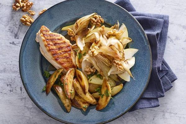 crispy chicken with caramelised chicory
