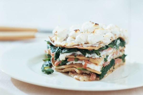 pancake pie with spinach