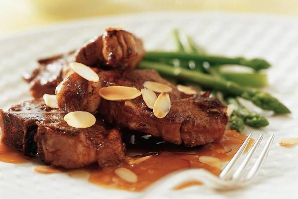 lacquered lamb chops with sherry saffron sauce
