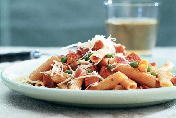 penne with chorizo and peas