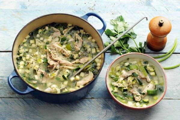 bright chicken soup with leeks and celery