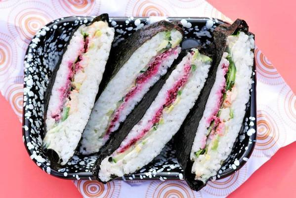 sushi sandwich with crayfish and avocado
