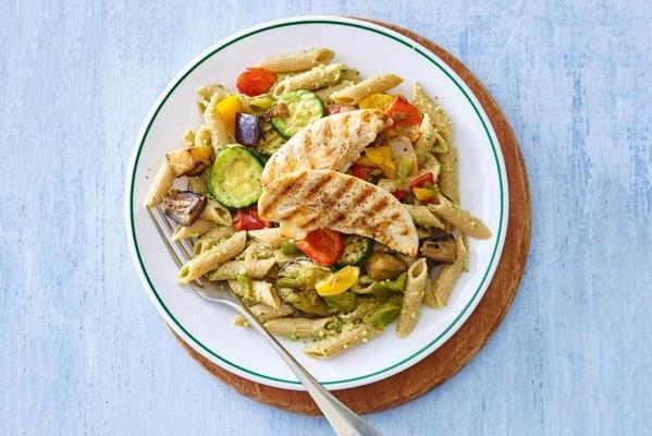 spelled penne with walnut pesto and chicken