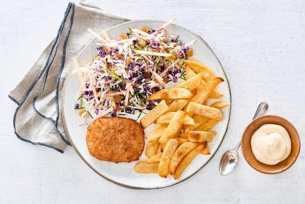 cod burger, Flemish fries and coleslaw