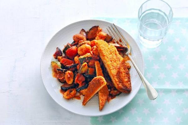 vegaschnitzel with ratatouille from the oven