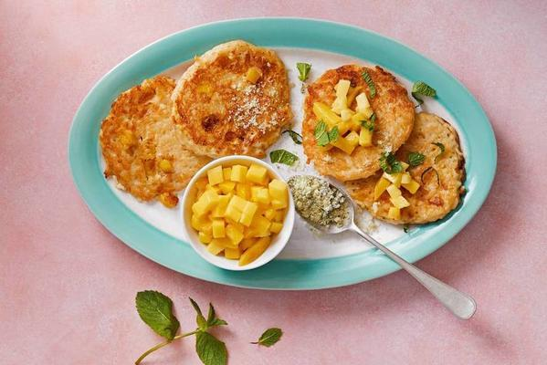 rice pancakes with mango and mint