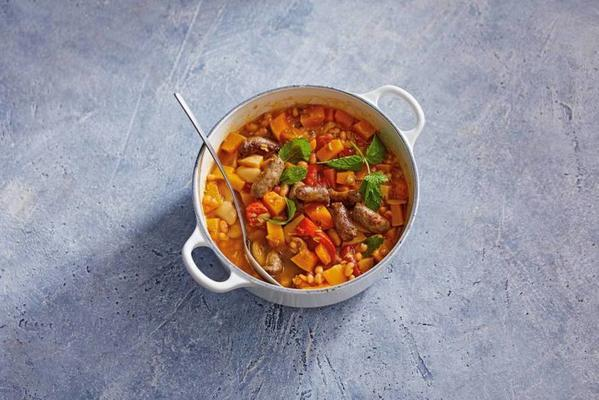 pumpkin stew with beans and sausage