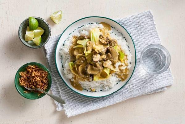 vegan rendang with oxheart cabbage and mushrooms
