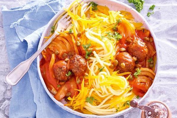 pumpkin spaghetti with fennel and veg balls