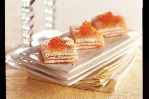 salmon snacks with vanilla cream