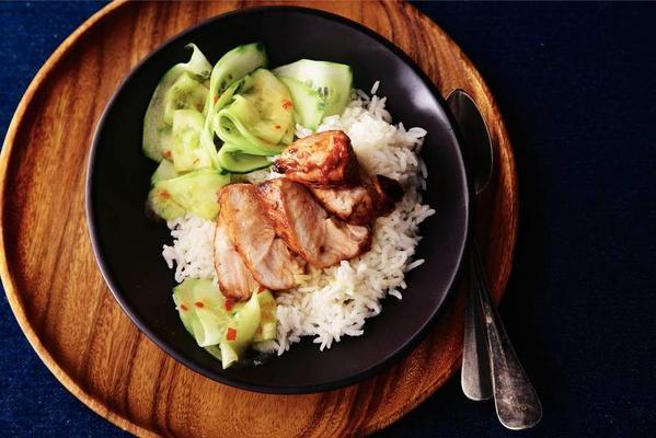 chicken soy sauce with cucumber atjar
