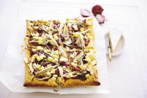 chicory cake with red onion and brie