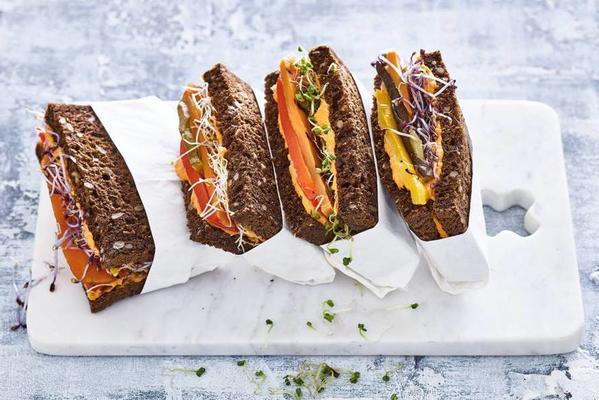 dark multigrain bread with hummus and sprouts
