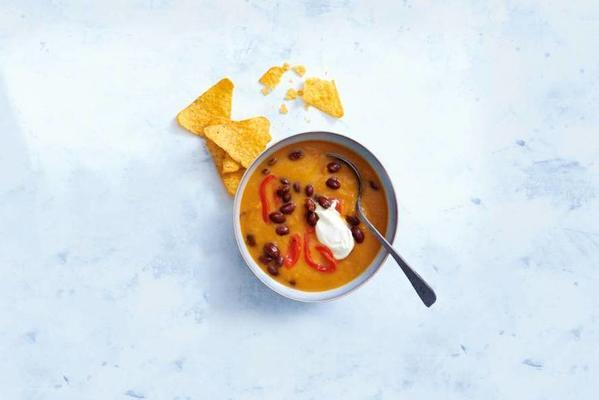 mexican meal soup of sweet potato with kidney beans