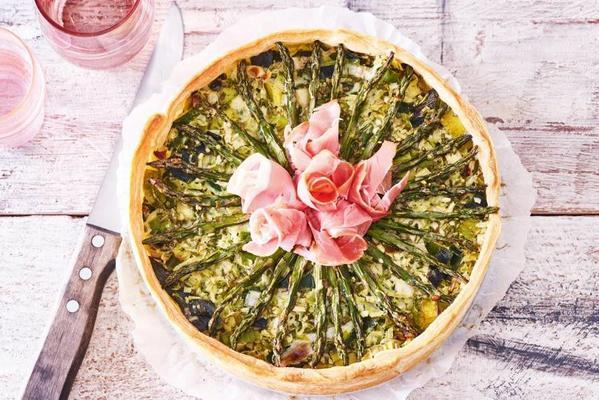 spring quiche with asparagus and broccoli