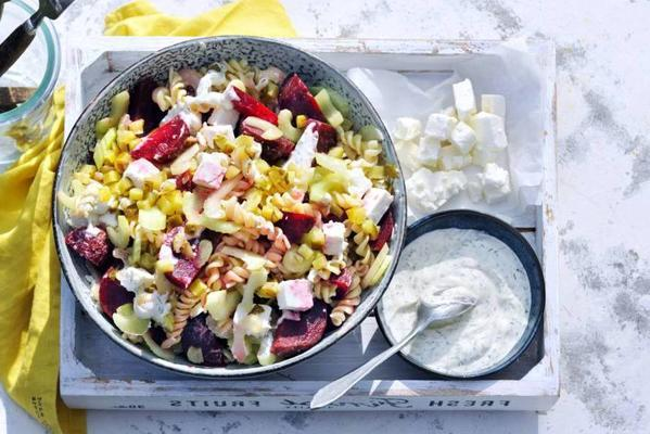 pasta salad with beetroot, gherkin, dill and feta