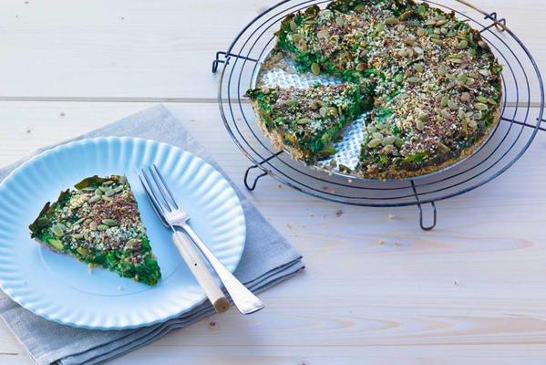 gluten-free pie with spinach, seeds and avocado