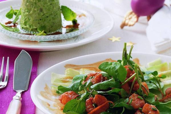 cucumber carpaccio with marinated tiger prawns