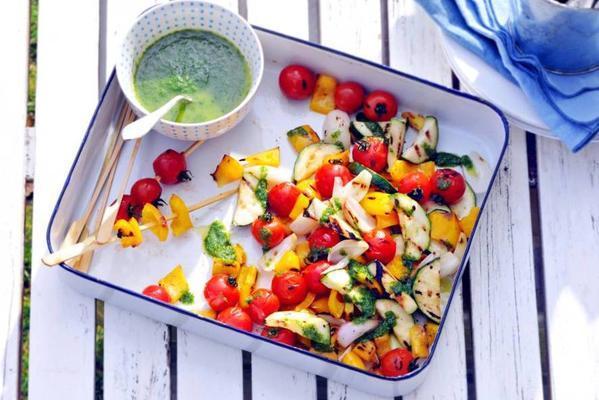 vegetable skewers with herb oil