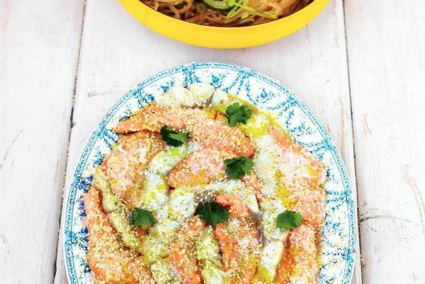 asian fish with noodles and vegetables