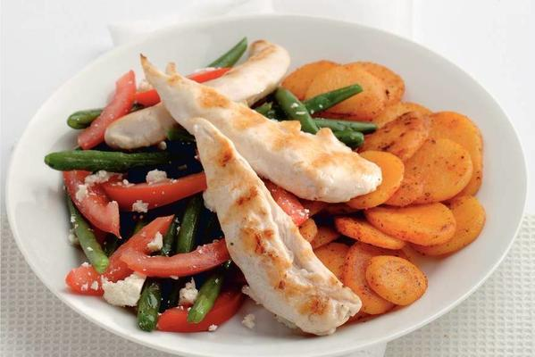 chicken fillets with potato slices
