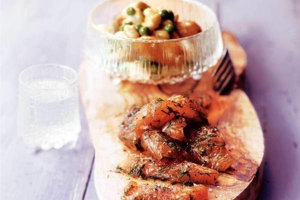 gravad lax à la minute with vegetables