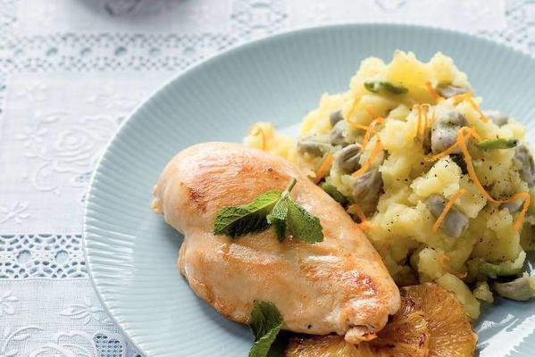 chicken fillet with broad bean stew