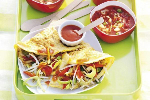 chinese omelette with stir-fry vegetables