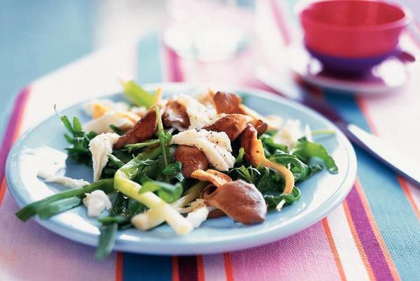 salad of arugula with oyster mushrooms, mozzarella and stoneleeks